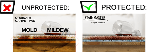Water proofing carpet pad mildew mold protection